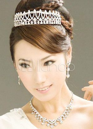 Ziemlich Silber Legierung Strass Crown Halskette EarringsWedding Schmuck-Set für Bräute