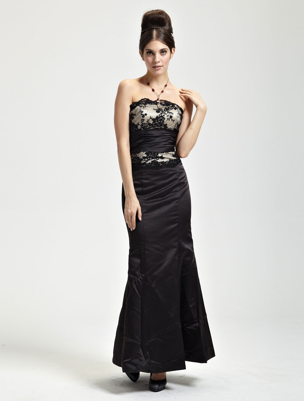 Alluring Black Satin Mermaid Trumpet Ladies Evening Dress (Wedding Evening Dresses) photo