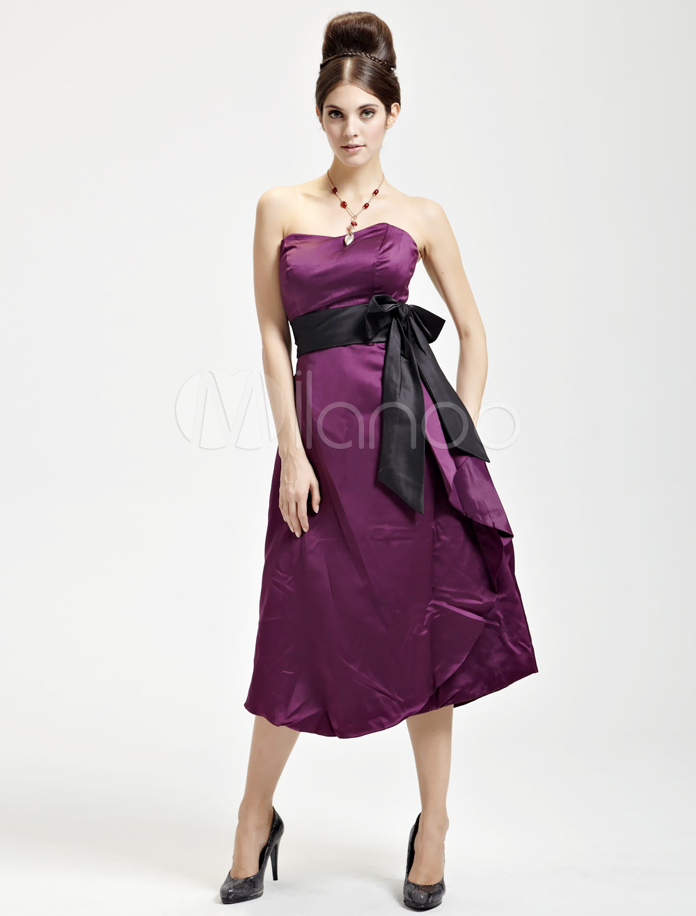 Attractive Dark Purple Satin Strapless Sash Ladies Evening Dress