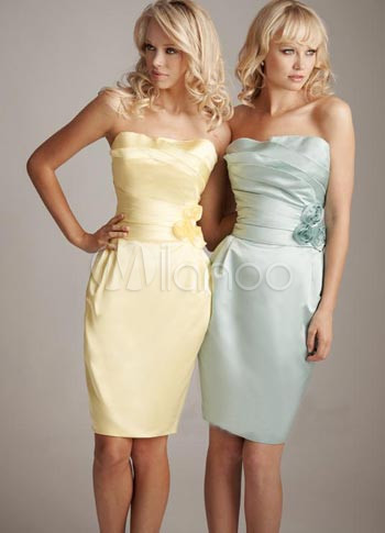 Daffodil Satin Strapless Womens Bridesmaid Dress (Wedding) photo