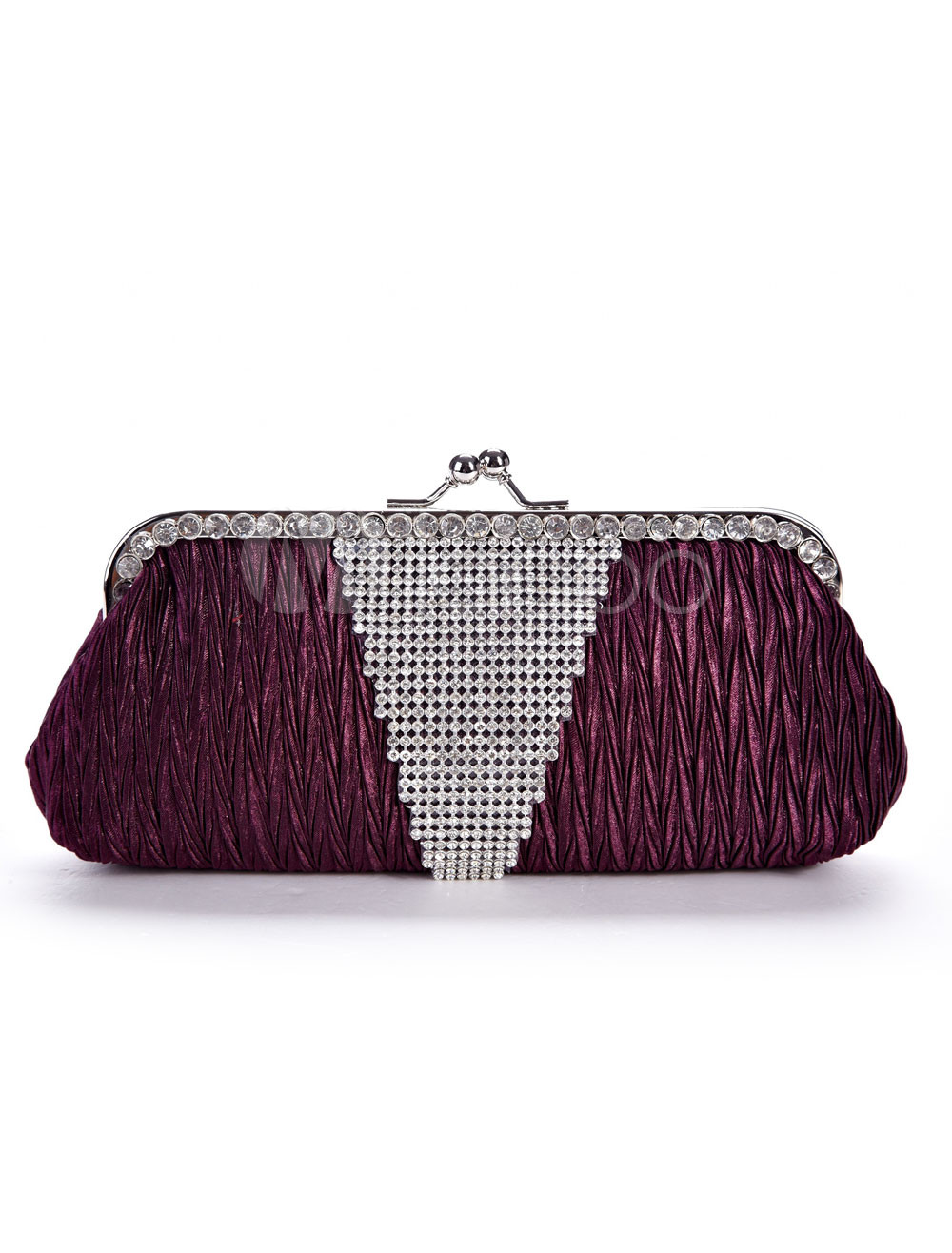 Purple Satin 24*11.5cm Rhinestone Ladies Special Occasion Handbag