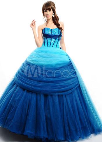 Fabulous Royalblue Grenadine Strapless Floor Length Prom Dress