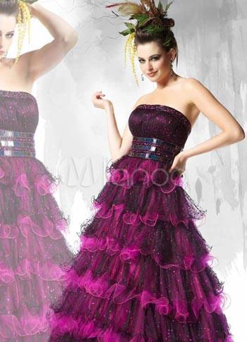 Glamorous Grape Purple Tulle Strapless Floor Length Prom Dress