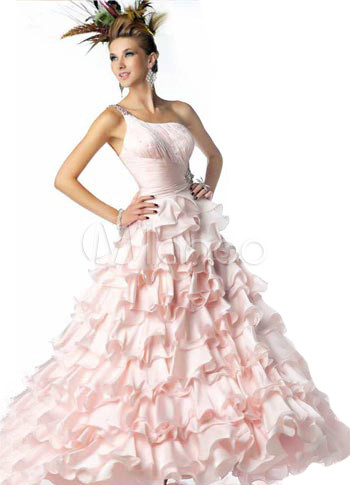 Pretty Pink Tulle One Shoulder Floor Length Prom Dress