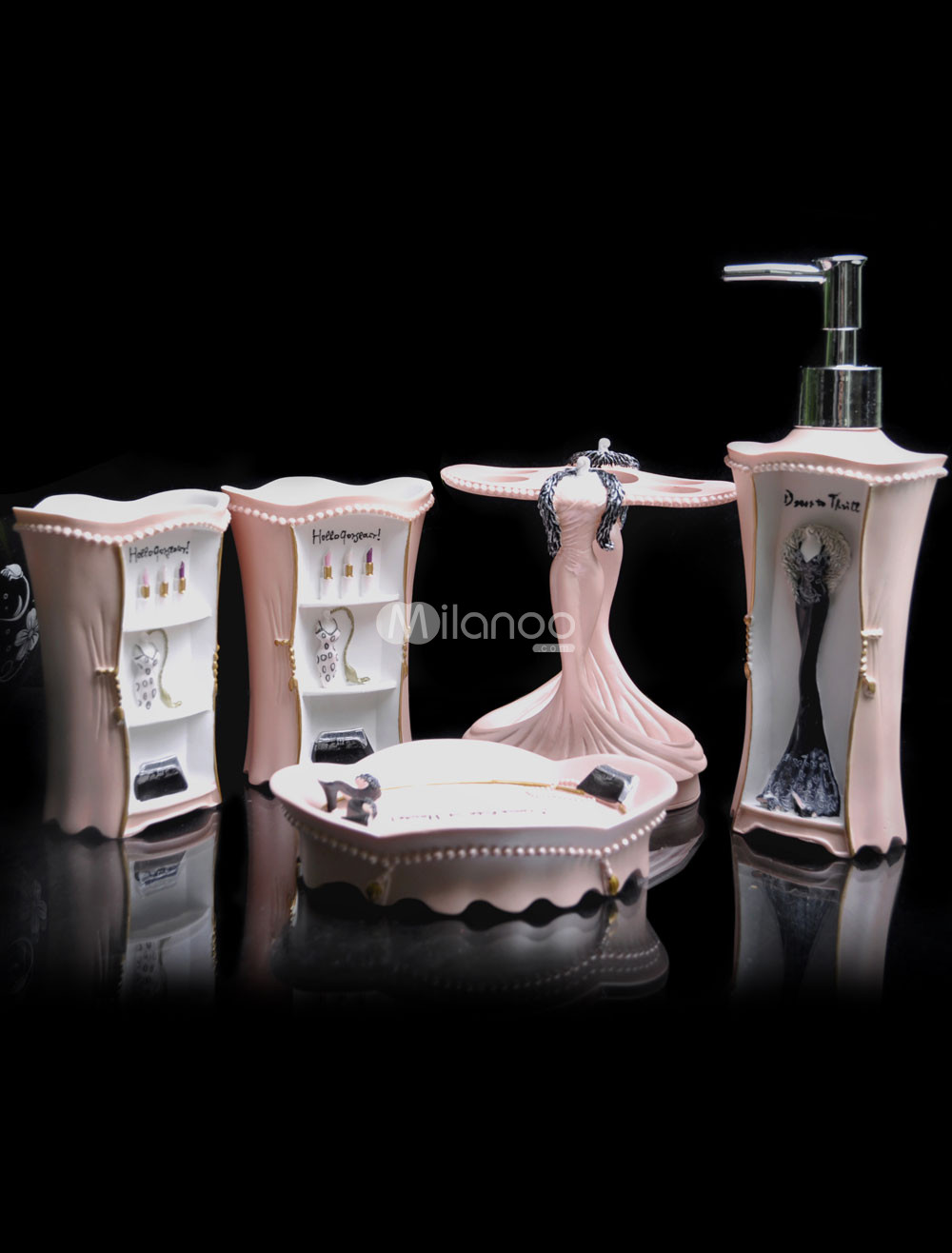 Idee deco salon bleu marine - Accessoires salle de bain rose ...