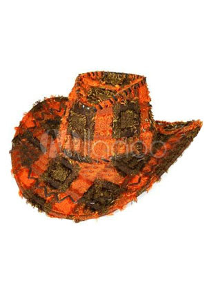 Orange Imitation Leather Men's Cowboy Hats