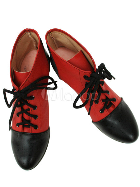 Red 3 1/2&apos;&apos; Heel Kuroshitsuji Faux Leather Cosplay Shoes