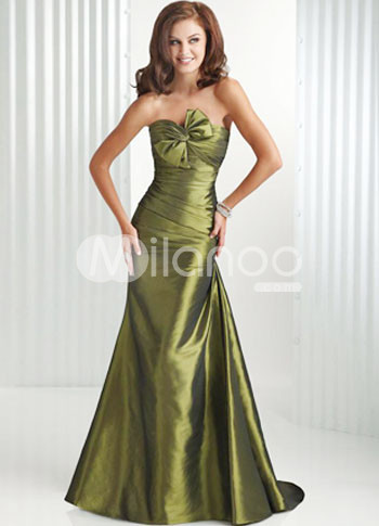 Green Strapless Sweep Silk Prom Dress