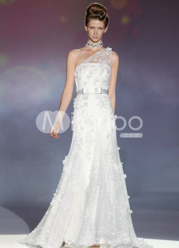 Charming White One-shouldered A-line Lace Sweep Wedding Dress