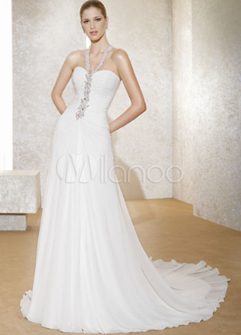 Faddish White Halter A-line Chiffon Sweep Wedding Dress
