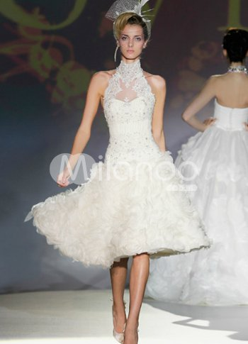 Milanoo Wedding Dresses 30 Popular Halter A line Lace