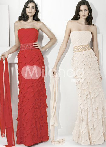 Red Strapless Multi Layer Chiffon Floor Length Prom Dresses