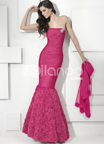 Rose Strapless Mermaid Trumpet Floor Length Chiffon Prom Dresses