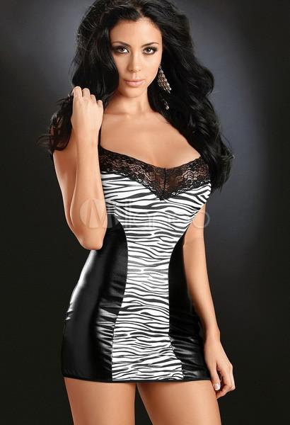 Black And White Zebra Acrylic Spandex Womens Sexy Dress
