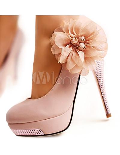 Chaussure A Talon Avec Fleur