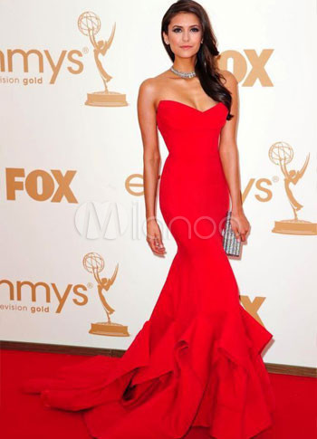 Red Nina Dobrev Strapless Mermaid Trumpet Sweep Emmy Awards Dress