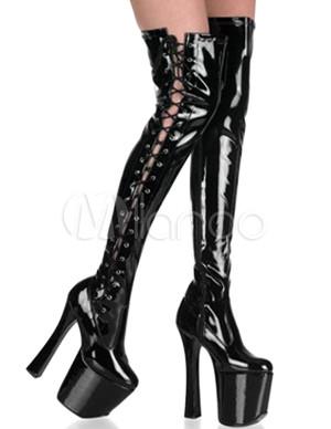 cuissardes sexy noires en cuir verni plateforme aux talons hauts pour femmes. Black Bedroom Furniture Sets. Home Design Ideas