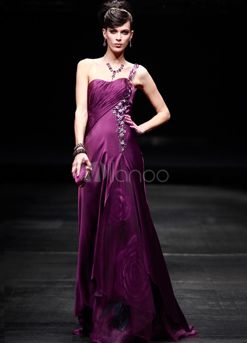 Purple One-Shoulder Beading Silk-like Womens Evening Dress