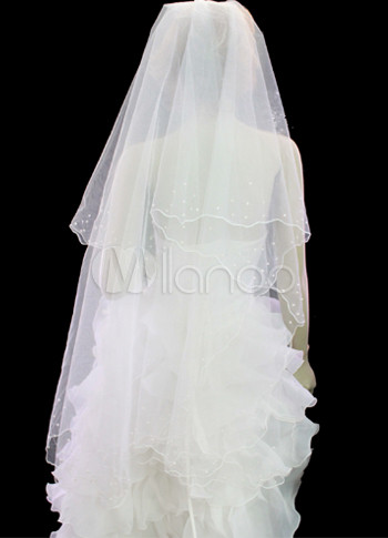White 3*1.5m Organza Imitated Pearl Bridal Wedding Veils