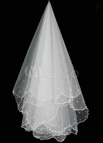 Ivory 1.5*1m Scalloped Trim Organza Imitated Pearl Bridal Wedding Veils