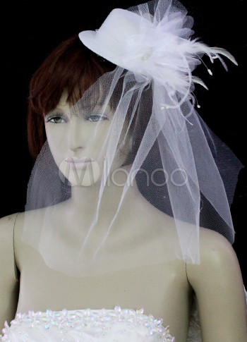 White 0.4*0.4m Organza 5.5cm Hat Feather Flower Bridal Wedding Veils