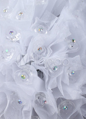 Romantic White Rhinestone Organza Bridal Wedding Bouquet