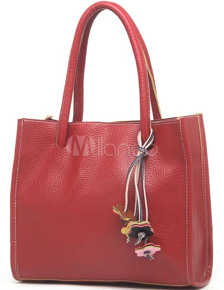 Red Litchi Pattern 29*8*26cm PU Womens Shoulder Bag