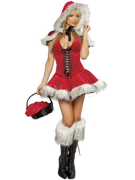 Sexy Christmas Santa Costume Women'S Red Lace Up Skater Dress Halloween