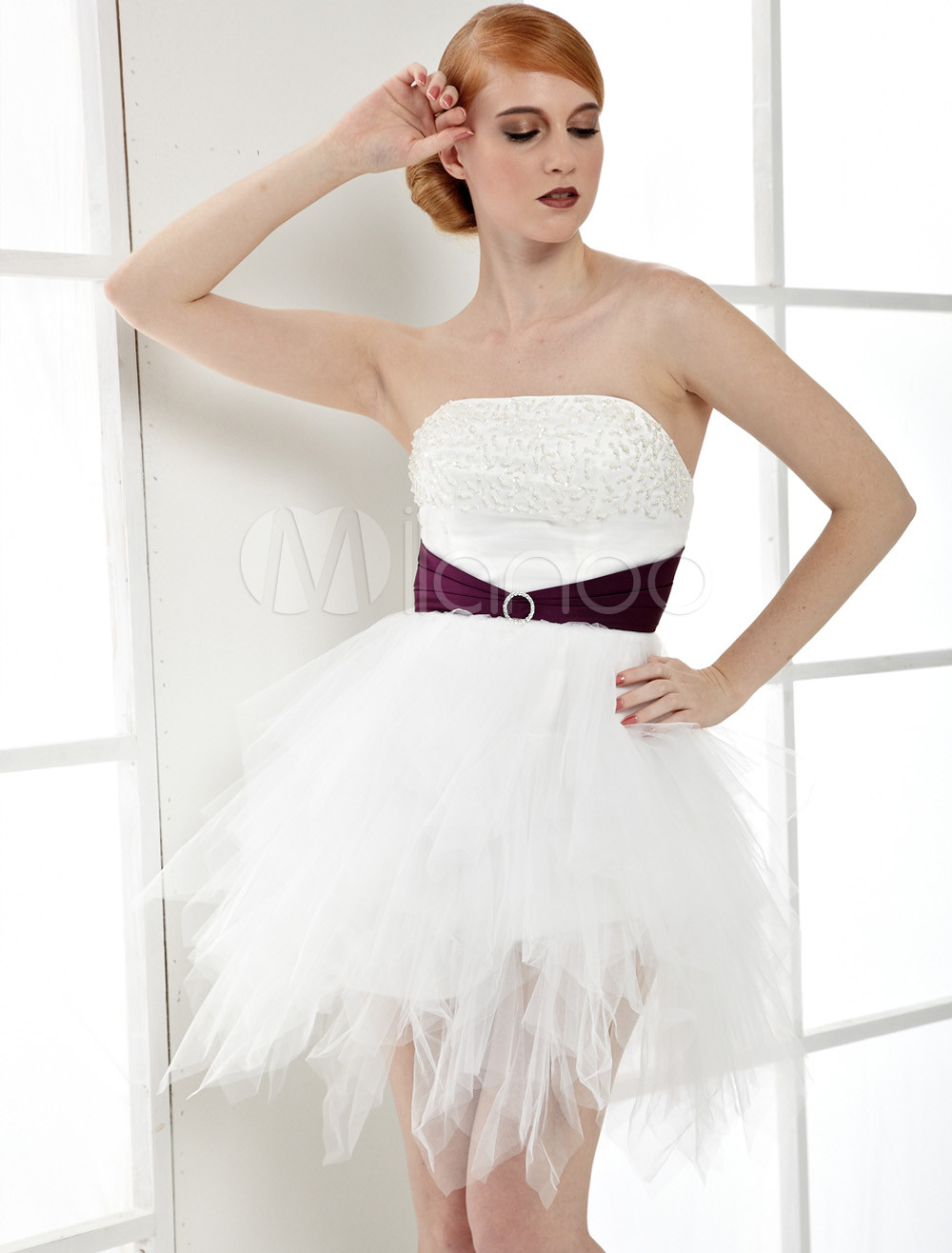 White Strapless Beaded Net Sash Cocktail Dress
