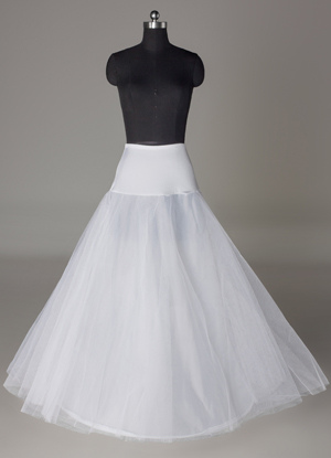 White Length 90cm Corset Lycra Lining Net Bridal Wedding Petticoat $19.99 AT vintagedancer.com