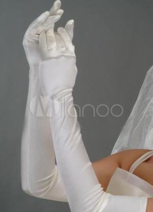 Ivory 60*10cm Above Elbow Length Satin Bridal Wedding Gloves