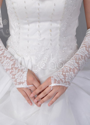 Ivory Wedding Bridal Mitten Lace Cut Out Elbow Length Mitten