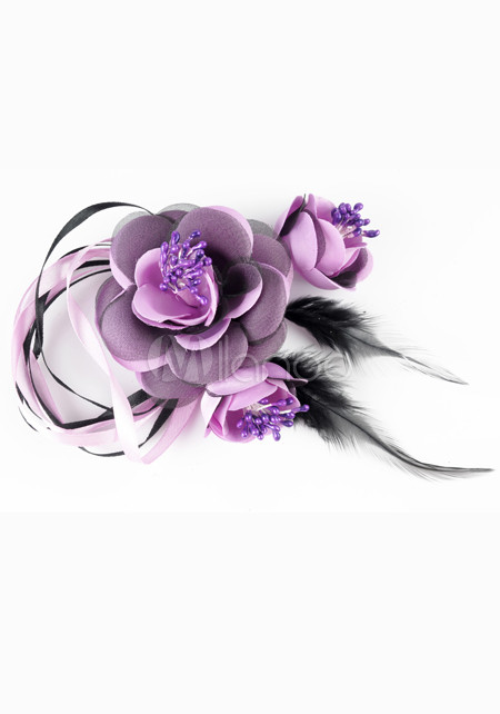 Purple 15*10*4cm Flower Decoration Feather Bridal Hair Flower