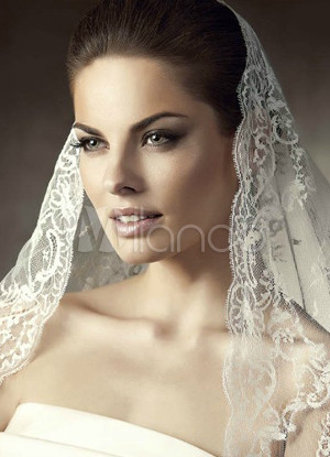 White 150*150cm Tulle Lace Trim Bridal Wedding Veil
