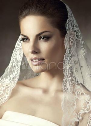 White 150*150cm Tulle Lace Trim Bridal Wedding Veil