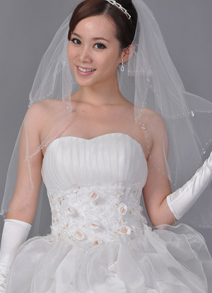White 90*150cm Beading Net Yarn Bridal Wedding Veil
