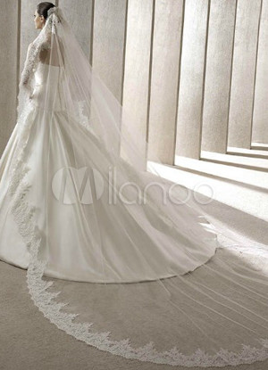 Cathedral Style White Gauze 300 * 200cm Lace Trimmed Bridal Wedding Veil