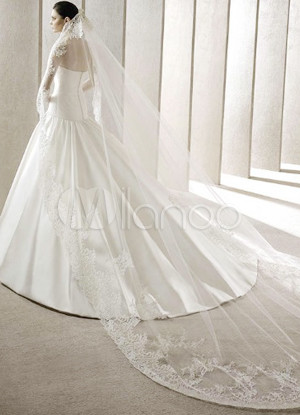 White 300*200cm Gauze Lace Trimmed Bridal Wedding Veil