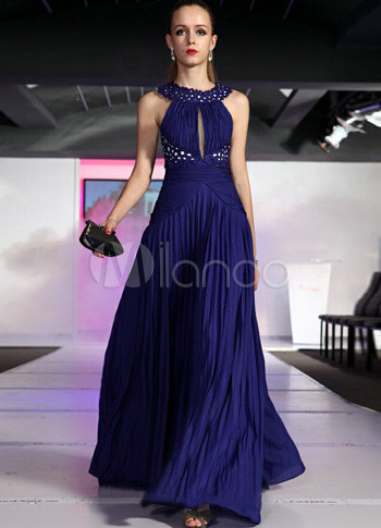 Gorgeous Dark Blue Floor Length Halter Women's Prom Dress