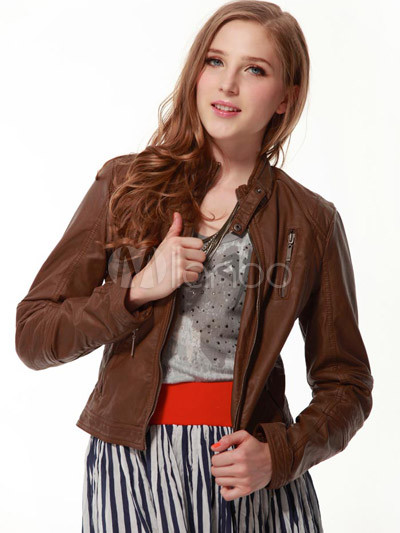 Popular Brown 70% PU 30% Polyester Women's Leather Jacket