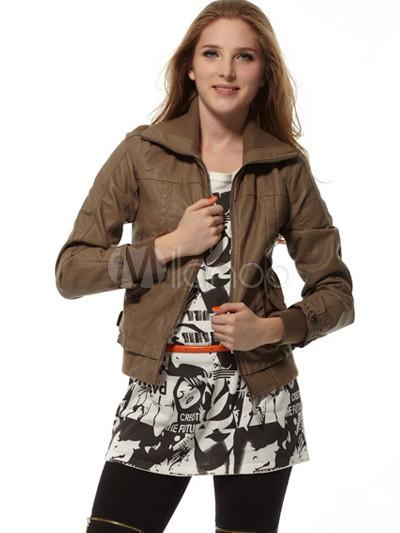 Khaki 70% PU 30% Polyester Turndown Collar Women's Leather Jacket
