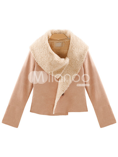 Pink manches longues col couverture Terylene Womens Jacket