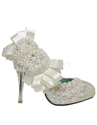 Bridal Shoes Pearls on White Leather Pearl Crystal Decoration Wedding Bridal Shoes   Milanoo