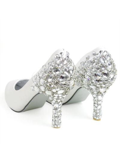 Wedding Shoes Bridal on Leather Rhinestone Decoration Wedding Bridal Shoes   Milanoo Com