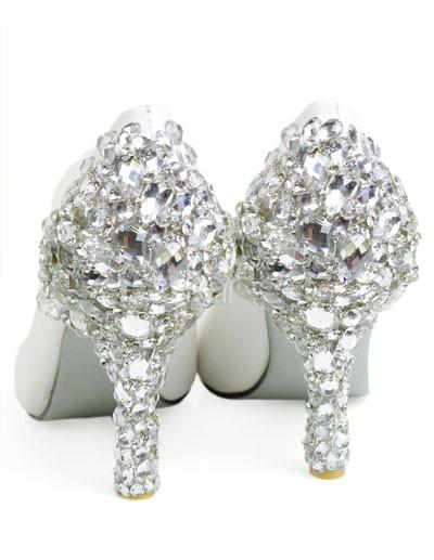 Rhinestone Bridal Shoes on White Leather Rhinestone Decoration Wedding Bridal Shoes   Milanoo