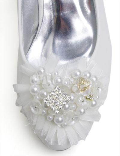 Rhinestone Bridal Shoes on White Leather Floral Rhinestone Wedding Bridal Shoes   Milanoo Com