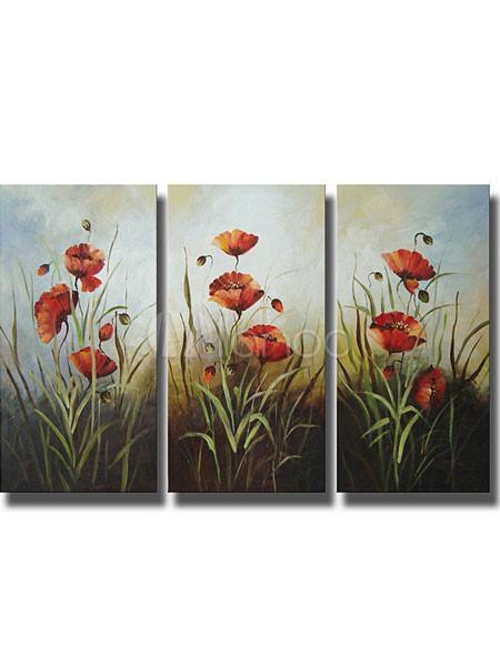 Fiori rossi di tela a mano gruppo dipinti ad olio for Fiori dipinti a olio