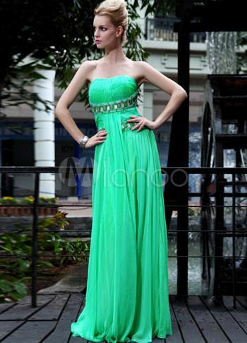Green Strapless Beaded Pleated Empire Waist Chiffon Prom Dress