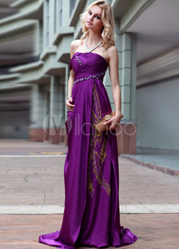 Deep Purple Beaded Floral Pleated Train Evening Dress