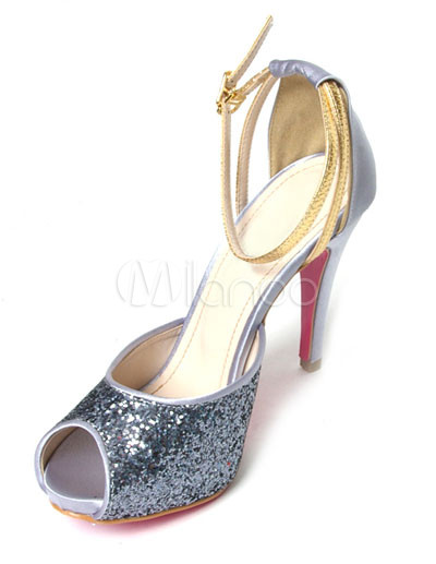 4 1/10'' High Heel Silver Peep Toe Sequined Fabric Ankle Strap Fashion Shoes